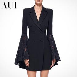 欧洲站2020春秋新款女装黑色时尚休闲小西装外套女设计感小众西服