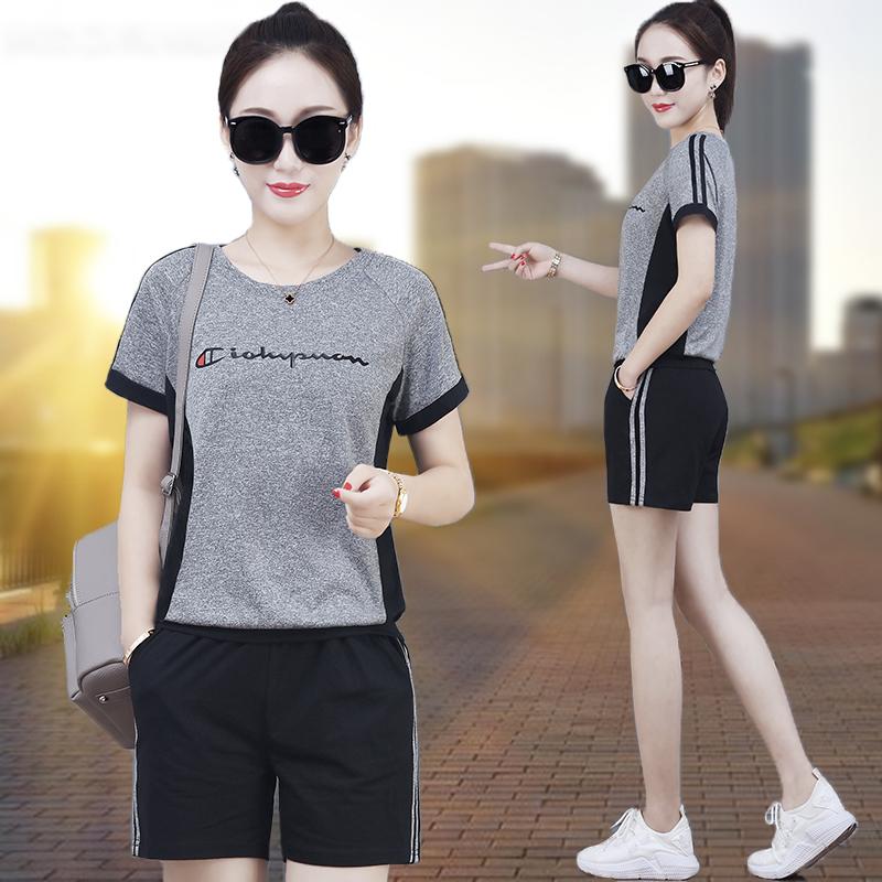 短袖短裤休闲运动服套装女夏2018夏季新款时尚韩版大码跑步两件套
