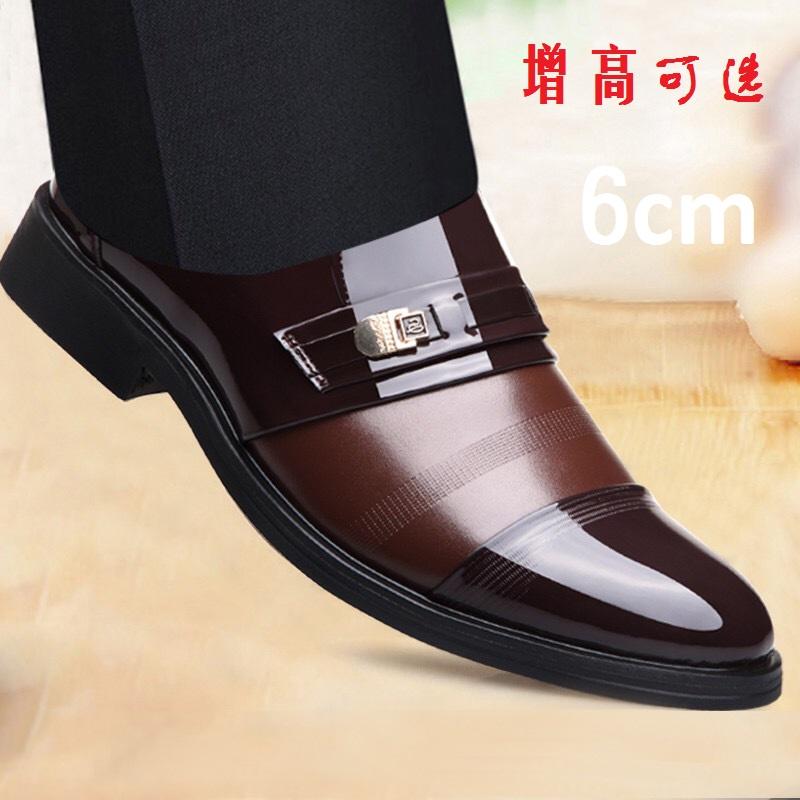 夏季增高男式皮鞋不系带男装曾高土婚用穿的亮皮无带商务正装鞋子