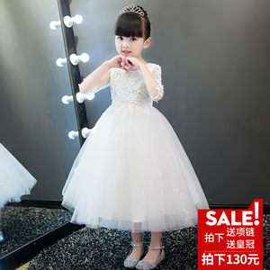 儿童礼服公主裙花童女童婚纱裙蓬蓬裙钢琴演出服主持人晚礼服白夏