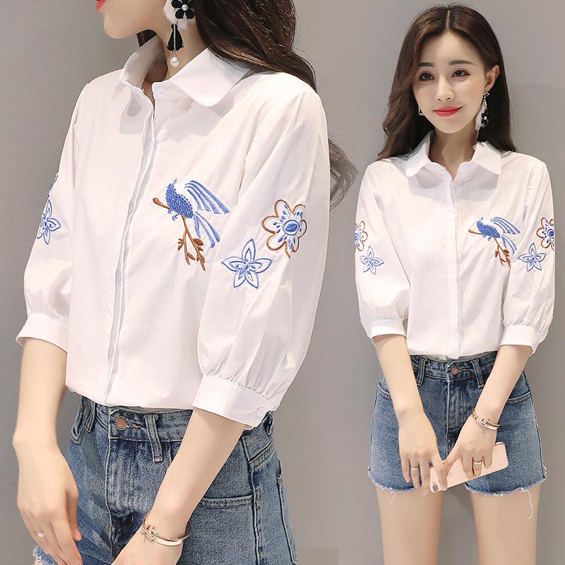 白衬衫女长袖秋装新款刺绣花鸟民族风宽松显瘦小清新短袖纯棉衬衣