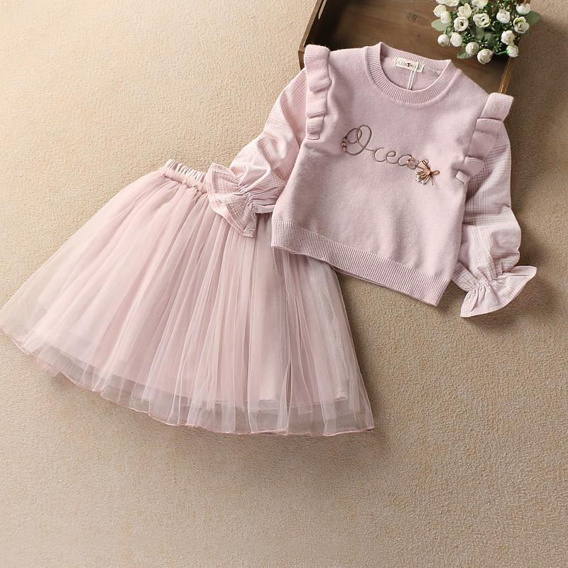 女童毛衣套装裙2020春装新年儿童裙套裙宝宝半身裙长袖两件套潮衣
