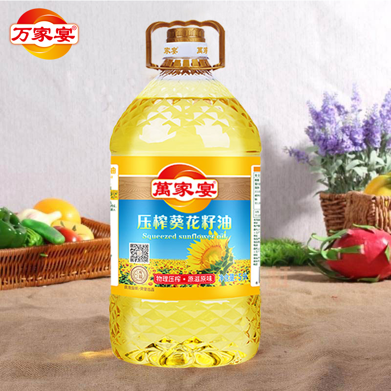 Wanjiayan 5L * 4 full container sunflower seed oil edible oil physical Press New Year gift package