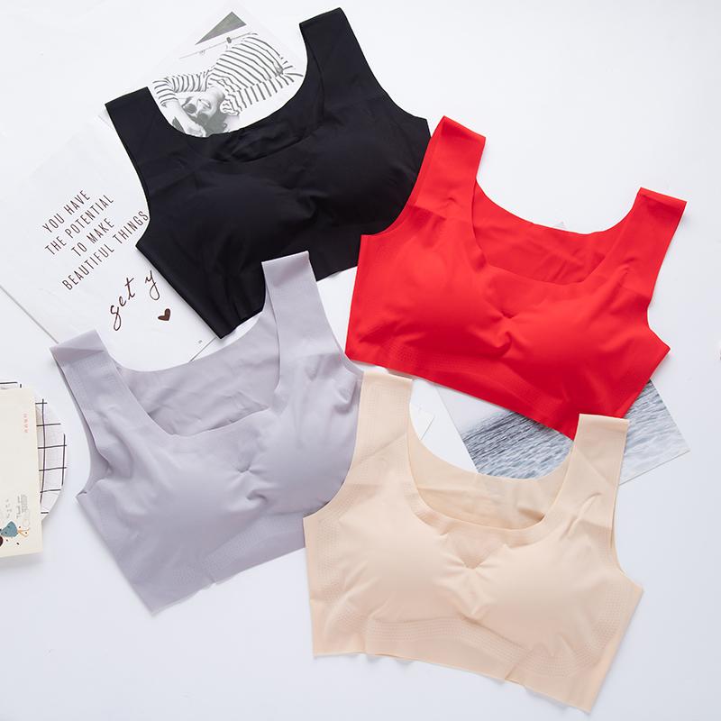 薄款运动防震内衣套装纯色无痕无钢圈文胸跑步瑜伽美背背心式胸罩