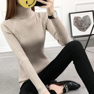 2018秋冬新款女高领毛衣打底衫长袖套头加厚修身白色紧身针织冬
