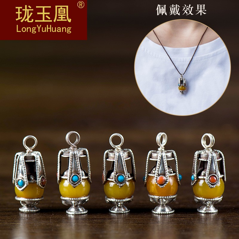 Longevity vase sterling silver handmade DIY jewelry accessories Tibetan silver inlaid Topaz national style necklace cl0414