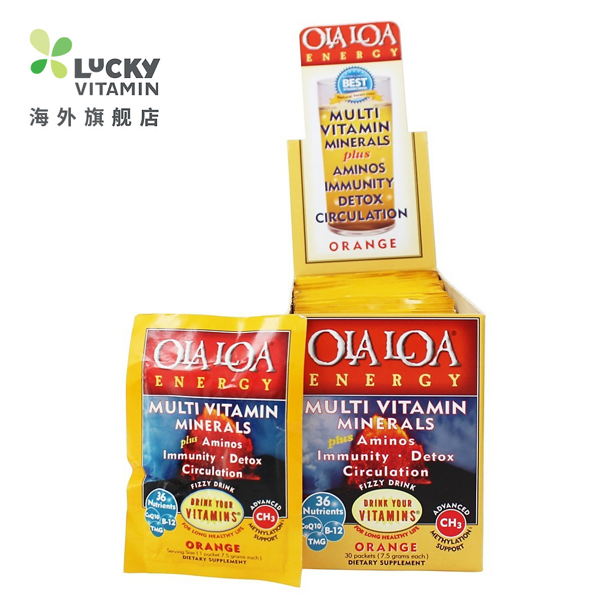 Ola Loa-能量多维生素泡腾片橙-30 x 7 g 数据包