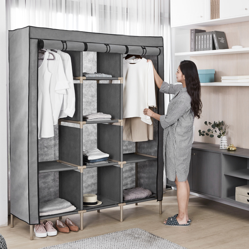 布衣柜钢管加粗加固简易衣柜布艺组装双人大号衣柜简约现代经济型