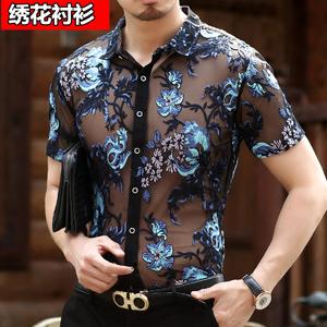 2021短袖绣花中年男士修身印花衬衫
