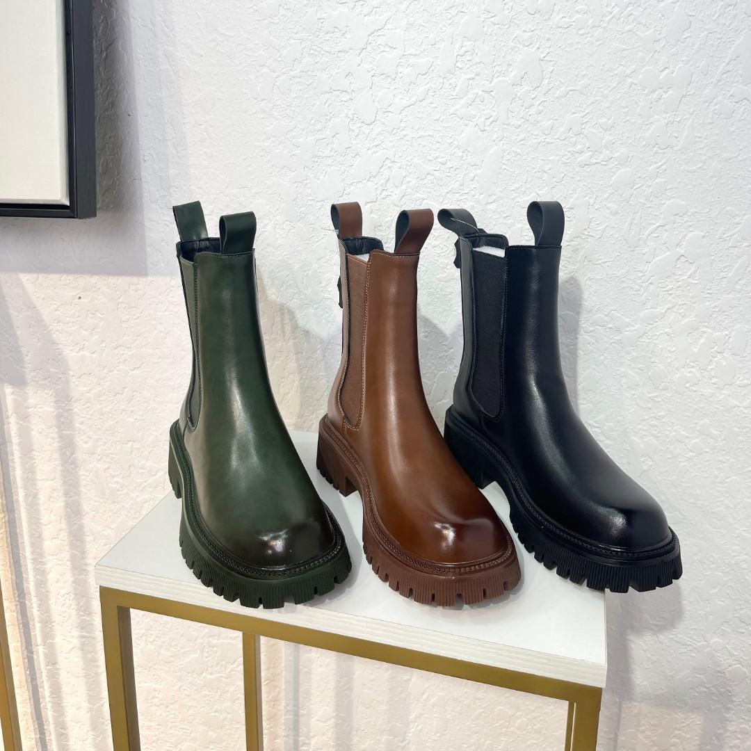 秋季新款厚底渐变绝绝子瘦瘦马丁靴真皮中筒烟管靴英伦风爆款短靴