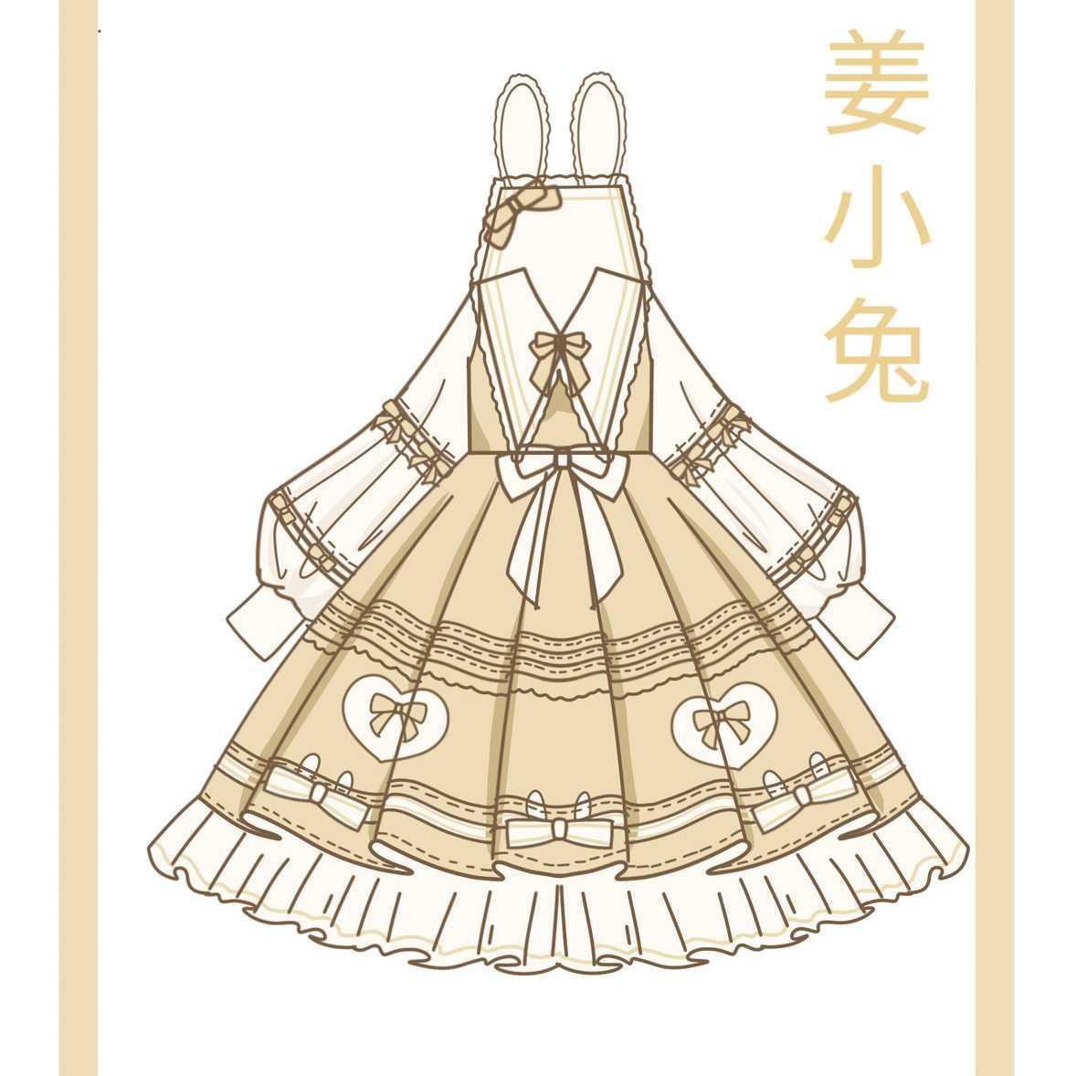 原创新款上衣姜小兔op洛丽塔蝴蝶结甜美lolit秋冬长袖日常连衣裙