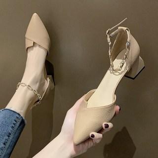 包头凉鞋女仙女风2020新款韩版百搭网红一字扣带粗跟中跟夏季女鞋