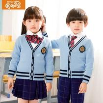 校服套装冬季小学生班服学院风三件套英伦风针织幼儿园园服春秋装