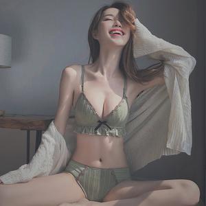 无钢圈内衣女小胸聚拢调整型文胸罩薄款夏性惑平胸内心内裤一套装