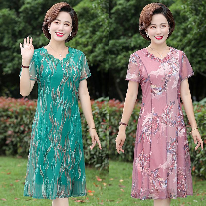 妈妈装夏连衣裙中老年女装短袖阔太太洋气高贵中年裙子2020新款22