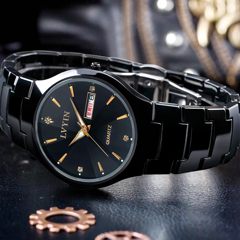 新款陶瓷手表男学生时尚潮流休闲男表商务男士日历防水腕表石英表