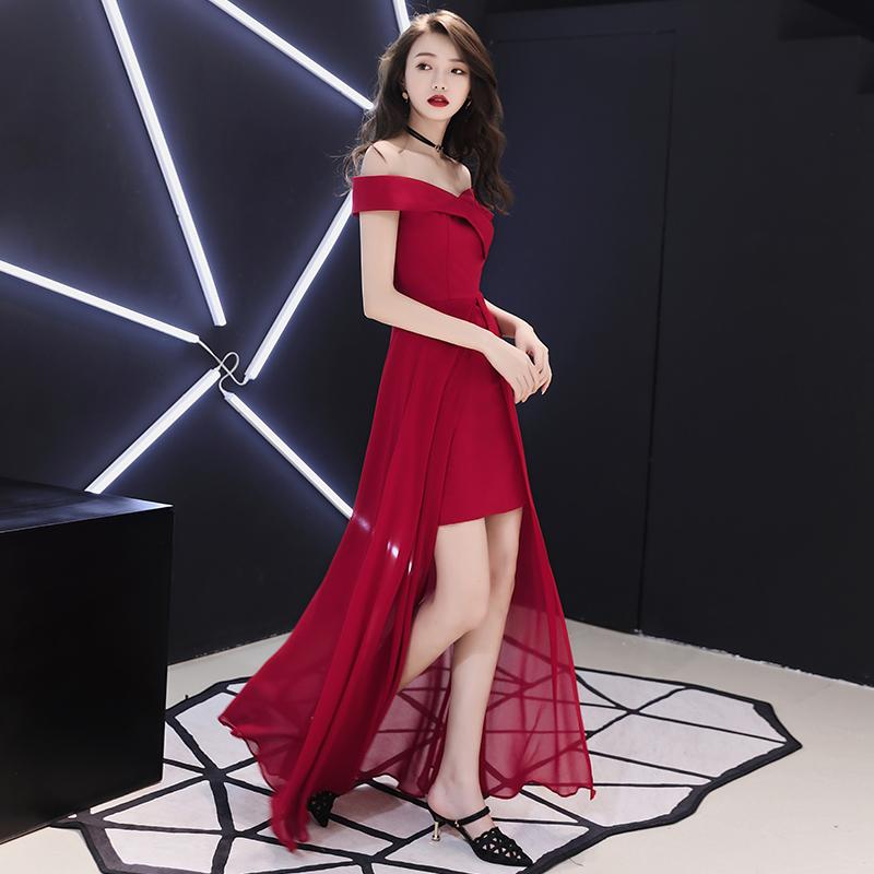 敬酒服新娘2020新款结婚酒红色一字肩显瘦订婚晚礼服裙女平时可穿
