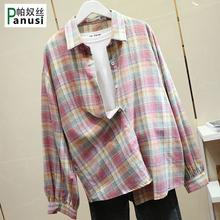 外套上衣 宽松灯笼袖 女韩版 学生衬衣长袖 新款 2019夏季 格子条纹衬衫