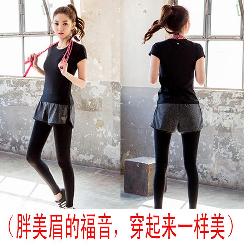 韓國健身房瑜伽服套裝女假兩件跑步緊身短褲運動衣速乾大碼春夏女