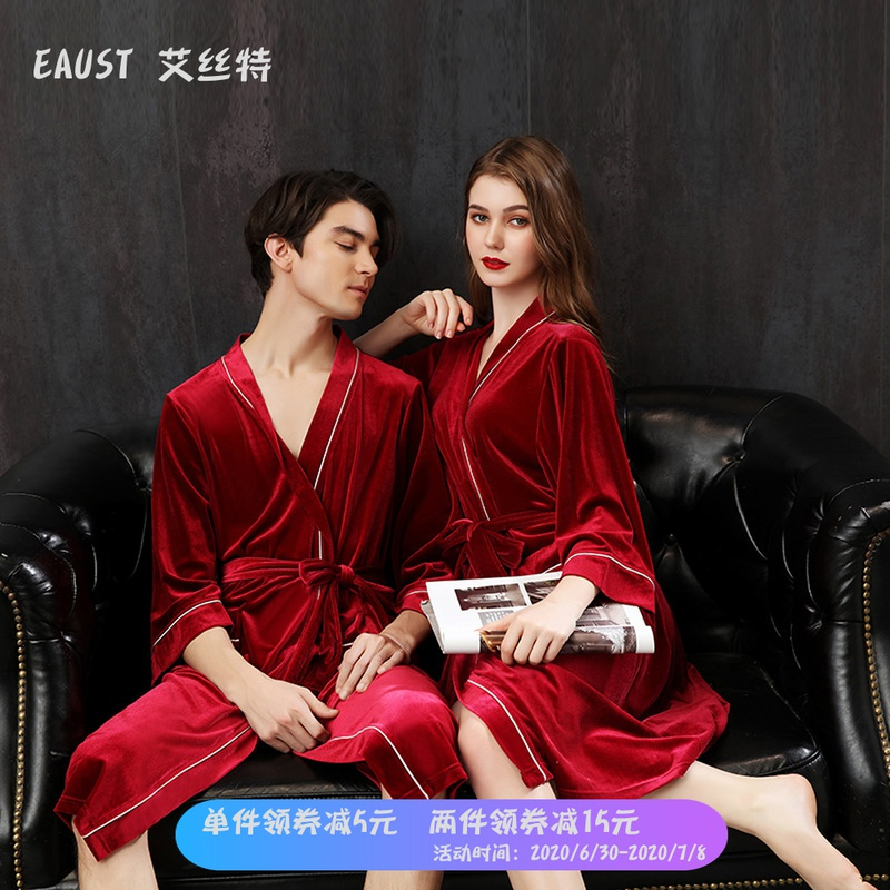 Spring and summer golden velvet couple Nightgown women Bridesmaid sexy morning gown with hand ceremony pajamas lying on the big size bathrobe man