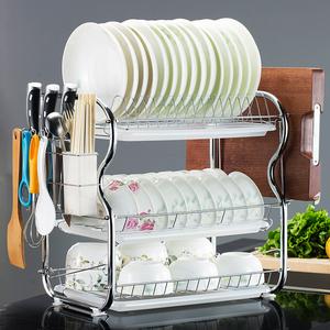 厨房置物架三层碗碟架碗架沥水架滴水架收纳架碗柜用品晾放碗筷架