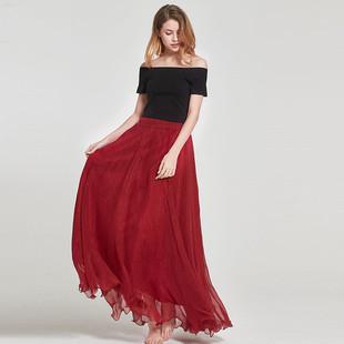 春夏季 双层雪纺半身长裙大摆裙显瘦飘逸海边拖地沙滩百褶仙女裙子