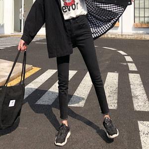 黑色牛仔裤女2019秋装高腰新款韩版显瘦百搭紧身九分小脚铅笔裤子