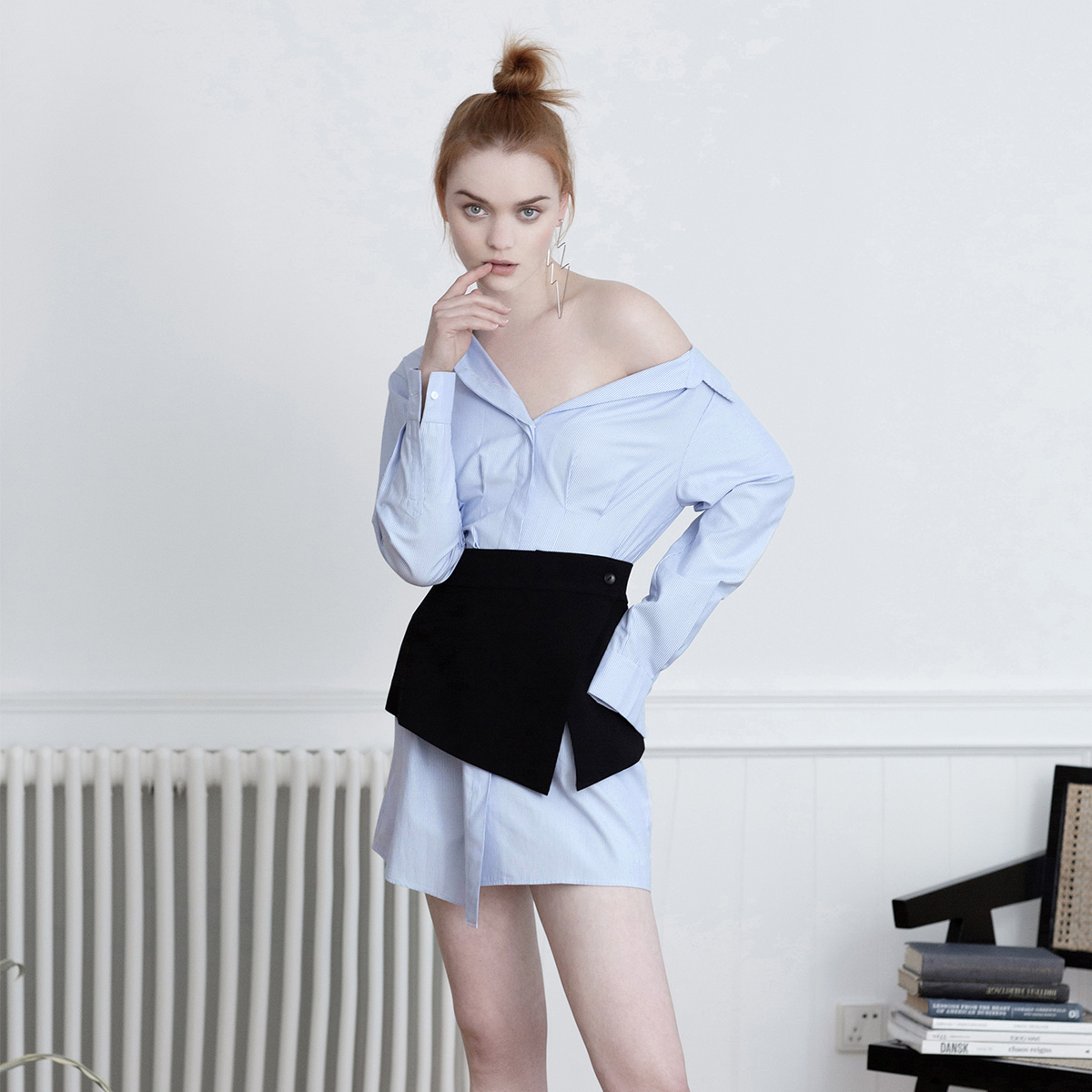 Zoual / YANTI summer blue and white stripe Long Sleeve Shirt Top (without waist cover)