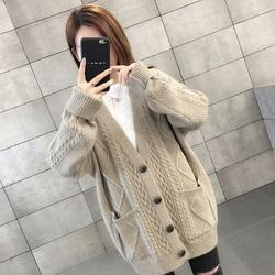 韩版2020年新款秋装女士毛衣针织开衫宽松外穿外套秋季女装秋冬季