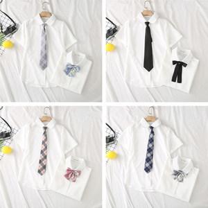 【原创设计】送领带衬衫女设计感小众女装2020新款夏雪纺上衣甜美