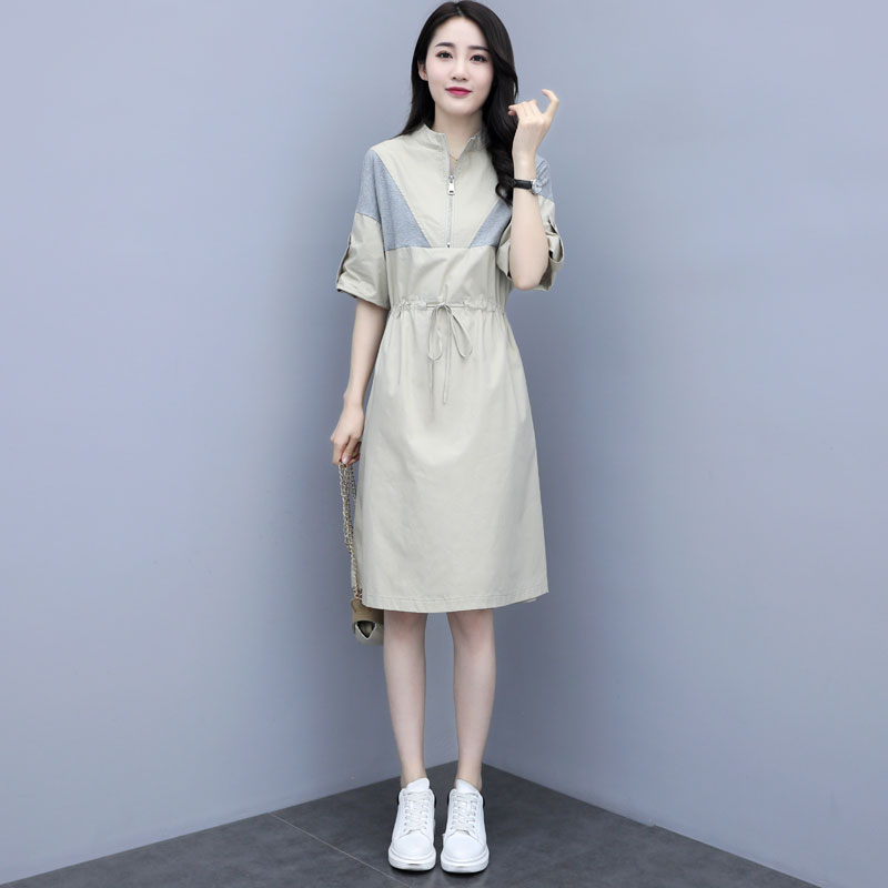 European station dress summer 2020 summer new womens dress temperament casual waist show thin medium length skirt trend