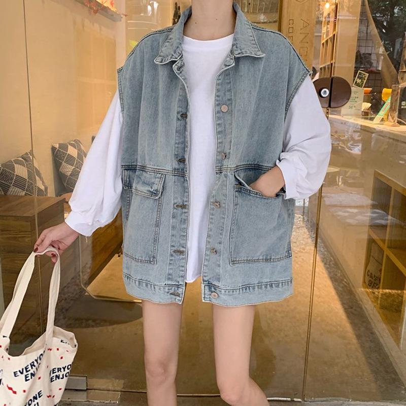 2020 summer new denim jacket womens Korean loose sleeveless jacket vest trend work wear Jacket Top