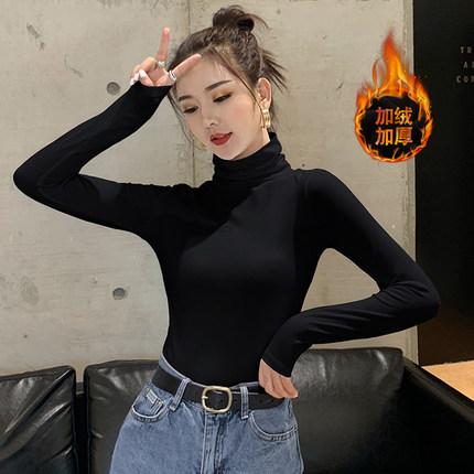 秋冬加绒堆堆高领打底衫女黑色内搭半洋气2019新款潮保暖加厚上衣