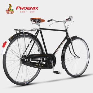 凤凰PA-18型28寸老式复古杆闸轻便通勤自行车老年休闲代步单车
