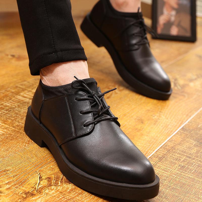 2020春季休闲皮鞋男青年英伦韩版婚鞋厚底软底黑色正装商务皮鞋潮