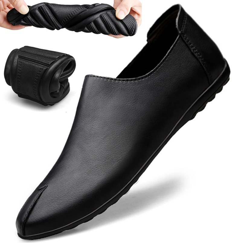 Casual leather shoes mens breathable slackers versatile Leather Mens shoes leather slackers shoes soft bottom pea shoes mens one foot pedal