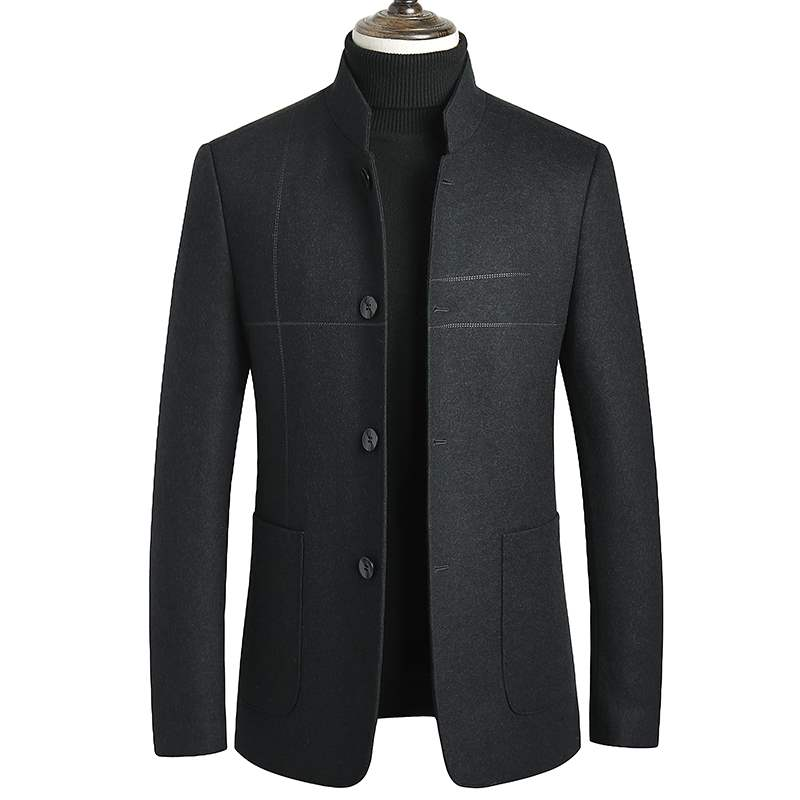 New winter Zhongshan suit middle aged mens Chinese stand collar wool suit