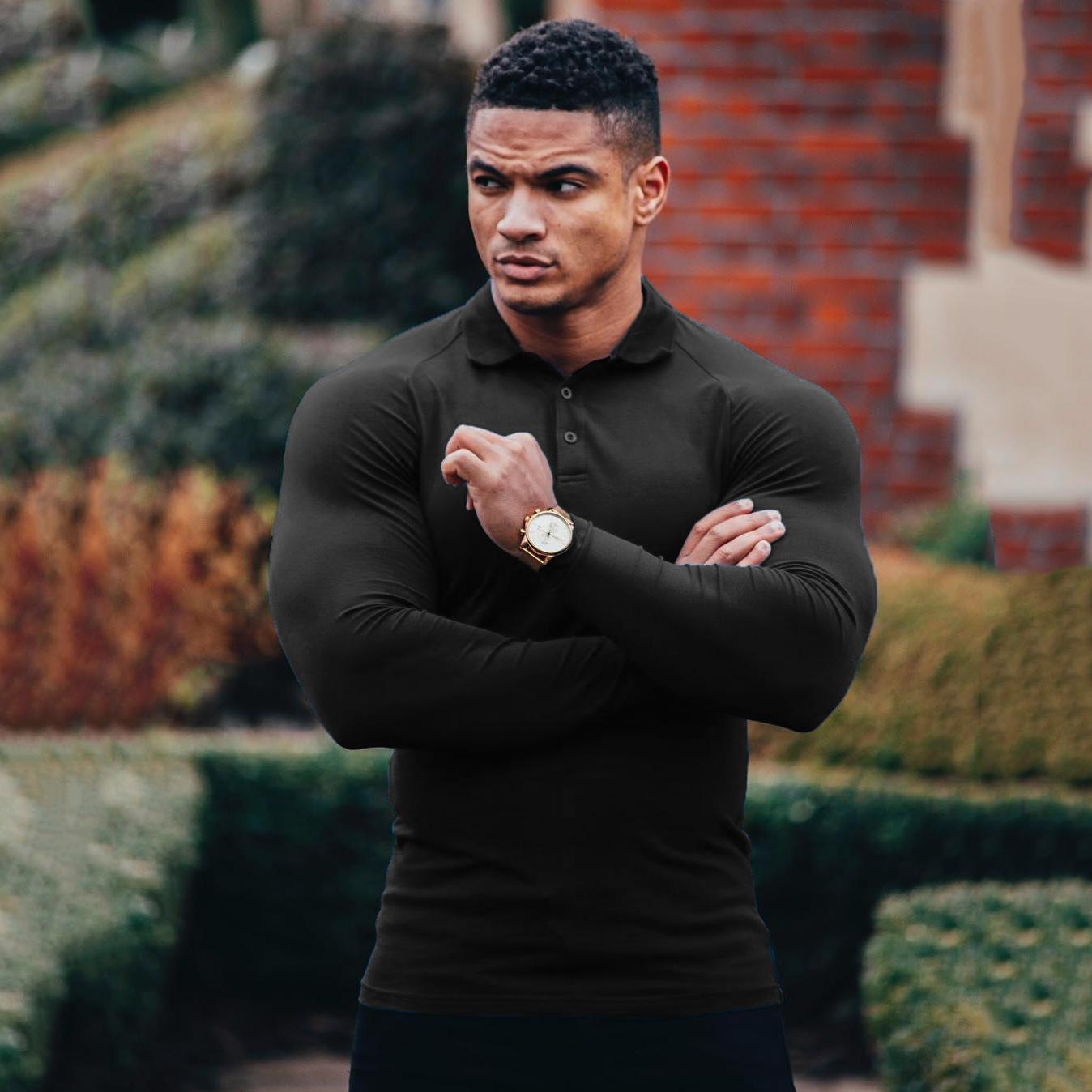 肌肉兄弟大码健身运动紧身长袖T恤POLO衫男跑步训练弹力速干上衣