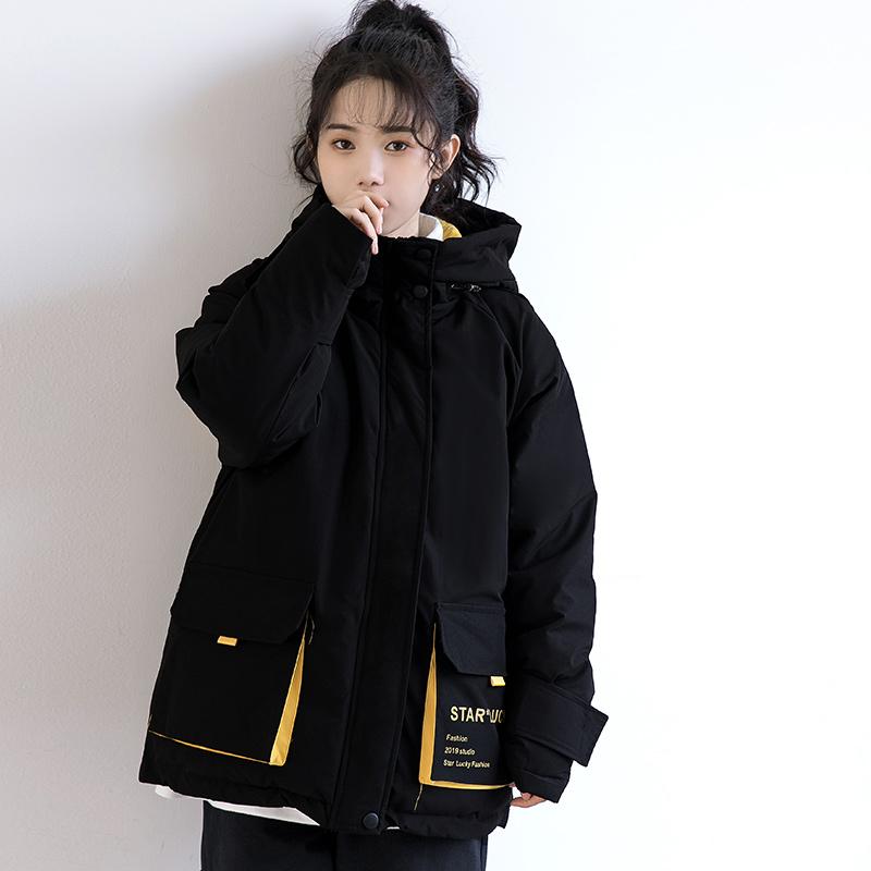 孜索2019冬季新款工装棉服女韩版宽松BF风休闲棉衣港风加厚外套潮