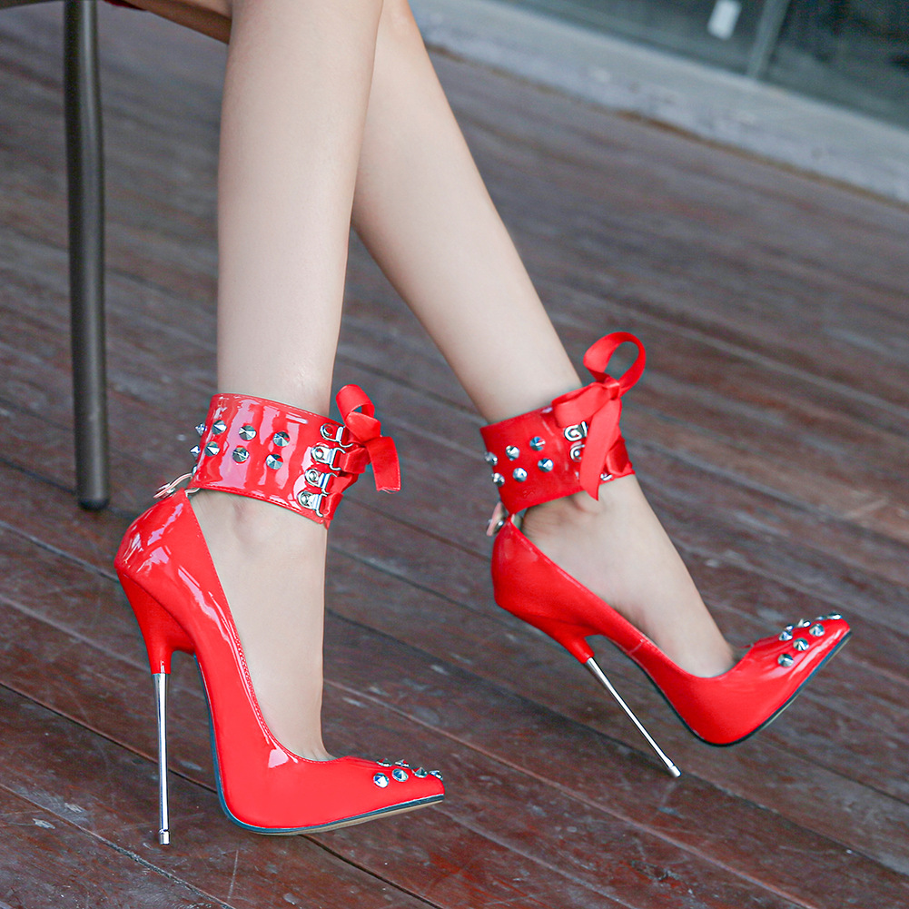 Metal high-heeled rivet creative pointed fashion trendsetter large size high-heeled European and American shoes womens nightclub style single shoes super high heels