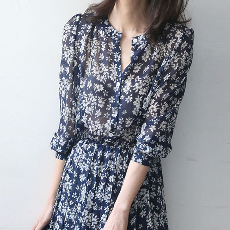 French floral dress women spring and autumn 2020 new summer long sleeves show thin, medium and long style chiffon skirt thin