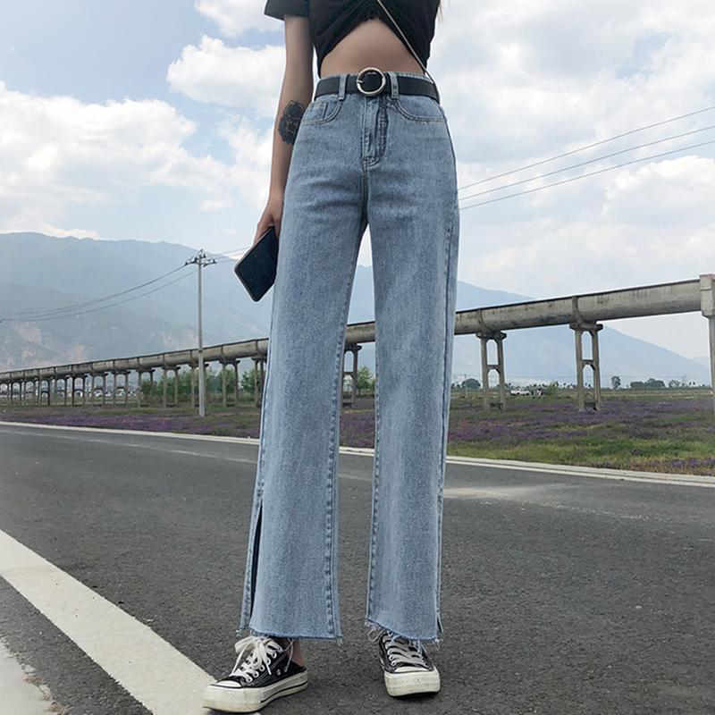 飞燕歌牛仔阔腿裤女九分长裤高腰垂感n毛边jeans侧开叉牛仔裤女夏