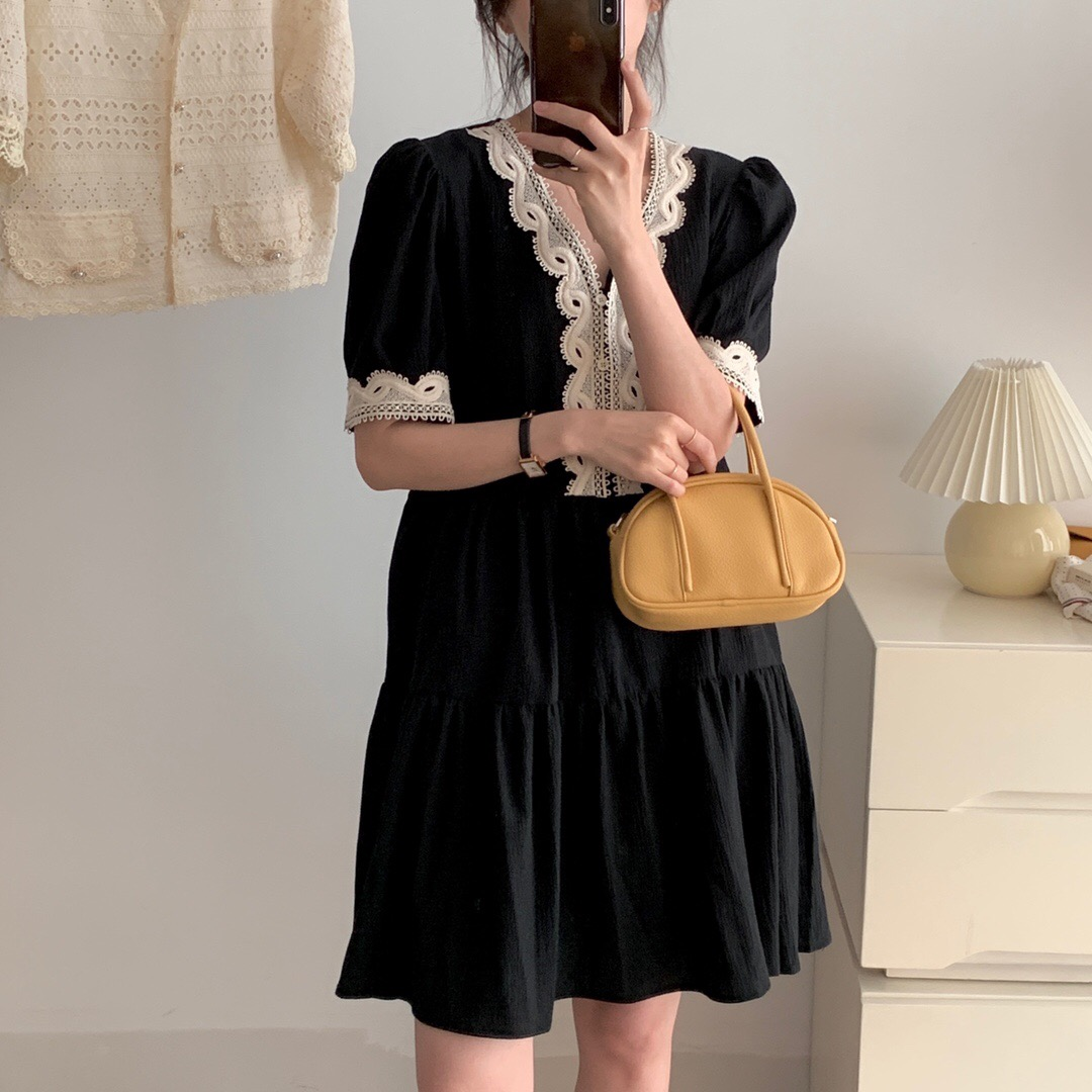 Korean Black Retro French Style Lace Embroidery Cotton Short Sleeve Dress 2021 summer skirt