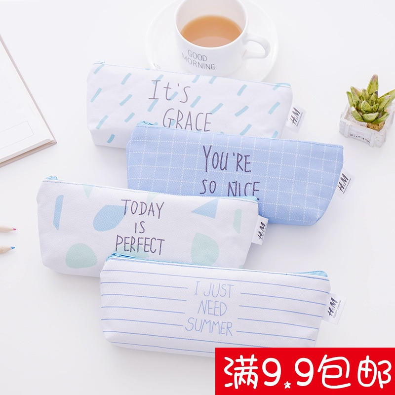 Korean cute little fresh canvas pencil students multifunction large capacity pencil bags stationery wholesale