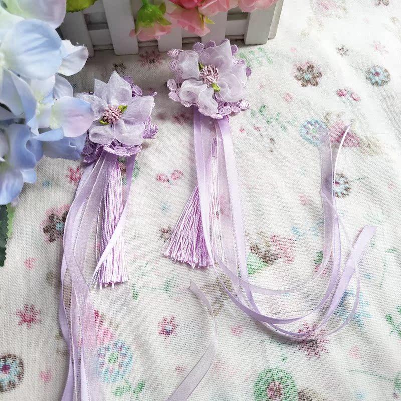 新款紫色儿童古风发夹红色汉服头饰长飘带飘逸流苏吊坠粉色包邮