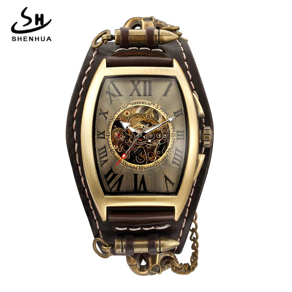 New Shenhua European and American style punk mens fashion leisure hollow out mechanical watch