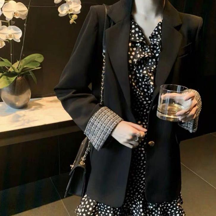 Suit coat female middle-aged mother thin summer thin vertical feeling French small Flower Chiffon Dress summer dress
