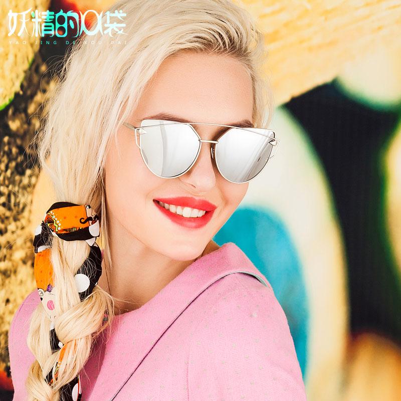 妖精水银墨镜太阳镜女士明星款欧美版开车偏光眼镜猫眼复古蛤蟆镜