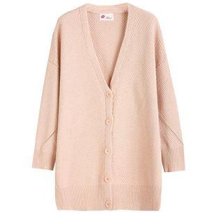 粉色薄款针织外套中长款2020针织衫