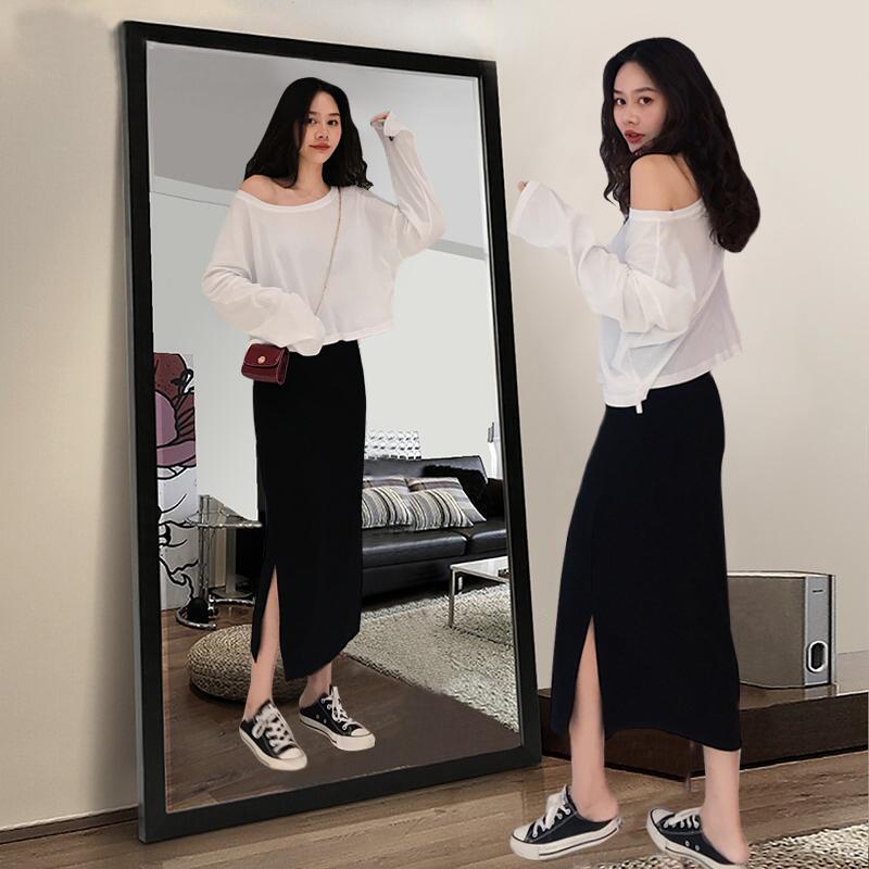 12月01日最新优惠黑色半身裙女2019初秋新款直筒开衩中长款高腰休闲一步裙包臀长裙